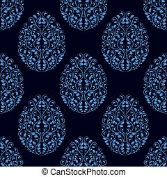Seamless pattern from eggs with blue floral ornament