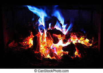 Red and Blue Flame Fire - Fire in Fireplace with red and...