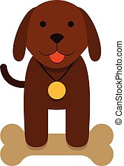 brown puppy dog with bone - flat cartoon