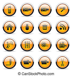 Media icons - Set of media orange icons (set 6)
