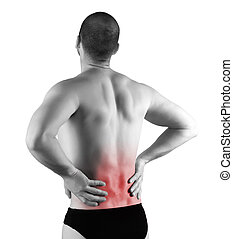 back pain - young man with back pain in the red zone