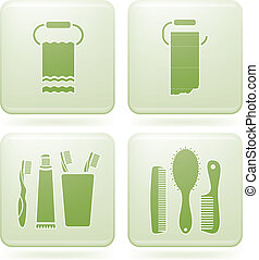 Olivine Square 2D Icons Set: Bath - Bathroom Utensils and...
