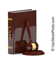 legal gavel with law book isolated on white background