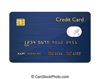 credit card isolated over white background - 3d dark blue...