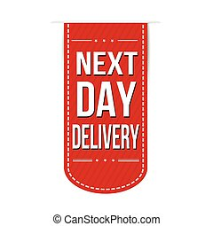 Next day delivery banner design over a white background,...