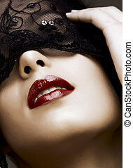 woman in mask - beautiful woman with red lips and lace mask...
