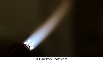 Burning of a gas lighter, close up, manufacturing