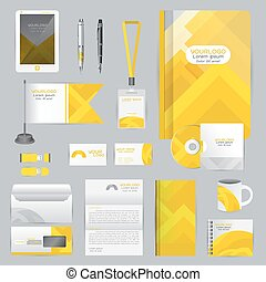 White identity template with Yellow origami elements. Vector...