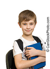 schoolboy - 10 years old boy with a backpack isolated on...