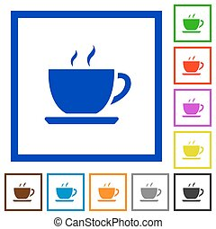 Coffee framed flat icons - Set of color square framed coffee...