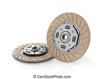 Clutch disc car on white background done in 3d