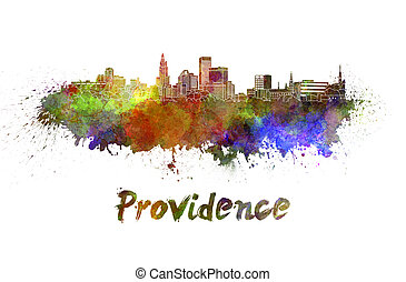 Providence skyline in watercolor splatters with clipping...