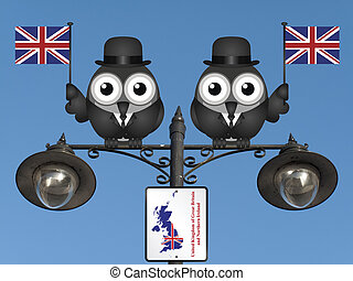 United Kingdom - Comical bird businessmen waving the flag...