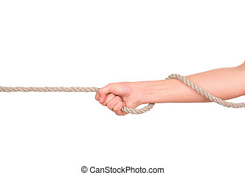 close up of hands pulling a rope on white background with...