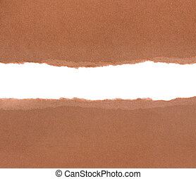 Brown package paper torn to reveal white panel ideal for...