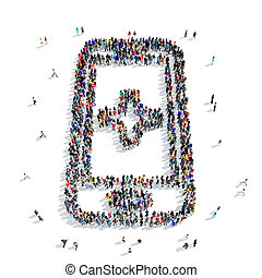 people shape smartphone icon - A large group of people in...