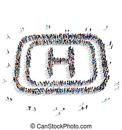 people medical sign icon - A large group of people in the...
