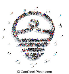 people shape light icon - A large group of people in the...
