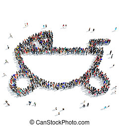people baby stroller icon - A large group of people in the...