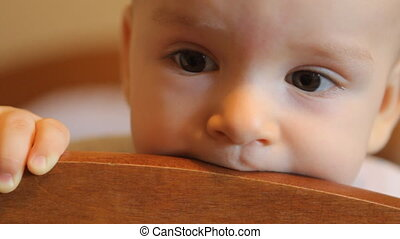 Baby chewing on the headboard HD