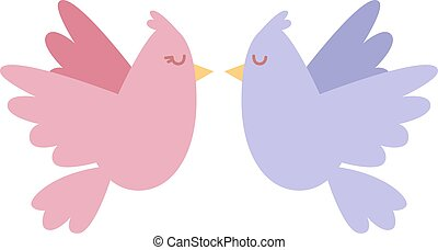 Cartoon couple of doves in love icon vector illustration. -...