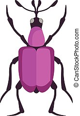 Beetle flat insect bug in cartoon style vector Simple beetle...