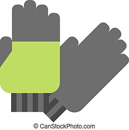 Flat gloves cartoon illustration. Leather green glove...