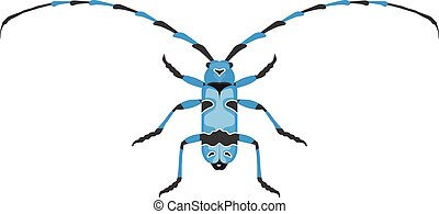 Beetle flat insect bug in cartoon style vector. Simple...