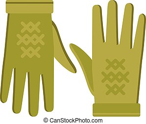 Spring green gloves cartoon vector illustration isolated on...