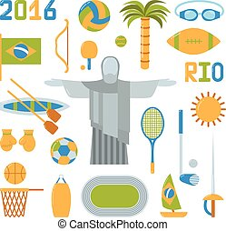 Rio summer olympic games icons vector illustration - Rio...
