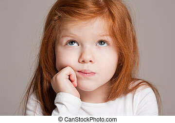 Sweet young kid - Closeup portrait of an expressive sweet...