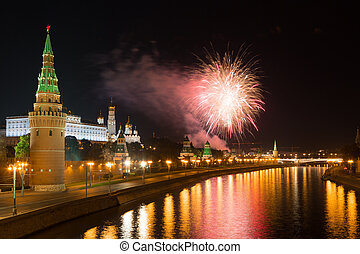 Beautiful a salute over the Kremlin in Moscow, Russia