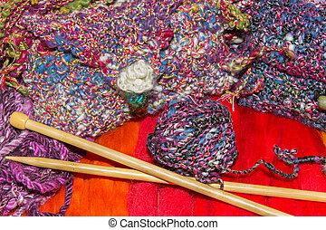 Gaudy wools and knitting needles - Bright gaudy natural...