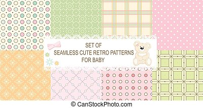 Collection of 8 retro different vector seamless patterns -...