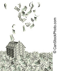 House from dollars banknotes and many flying dollar banknotes