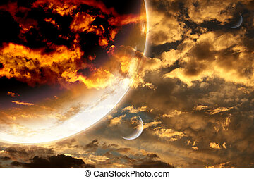 Sunset in storm sky and alien planet. Elements of this image...
