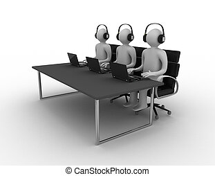 Employees working in a call center