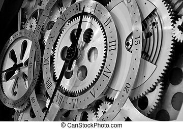 clock and gears - Closeup of gears from clock works