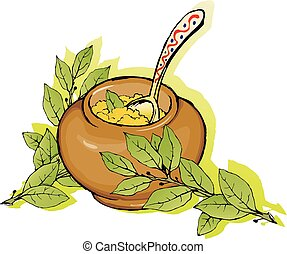 Porridge in a ceramic pot wyth laurel branches. - Vector...