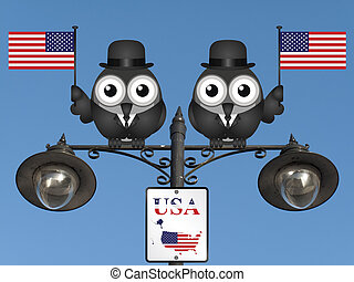 United States of America - Comical bird businessmen waving...