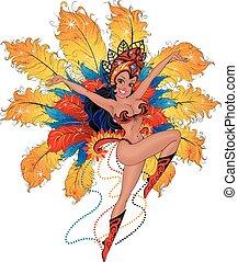 Girl dancer in the Brazilian carnival.