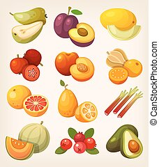 Set of colorful exotic fruit - Exotic tropical, garden and...