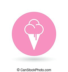 Ice cream cone icon. Icecream scoop sign. Soft serve symbol....