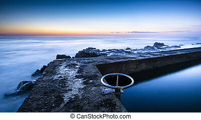 Tidal pool or reservoir in dusk or dawn - tidal pool or...
