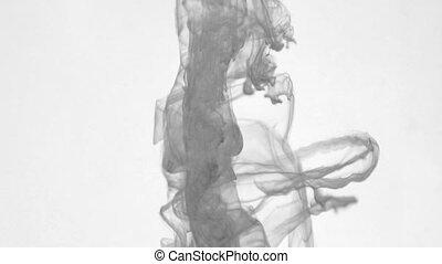 black ink swirling gray water HD