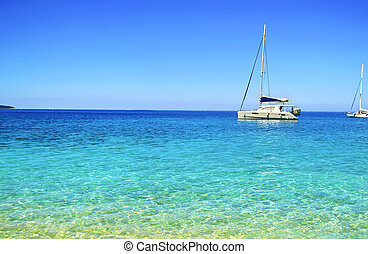 turquoise sea Ithaca Greece - turquoise sea on Ionian...