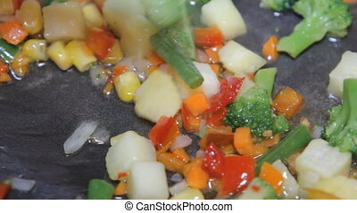 mixed vegetables in a pan close-up HD