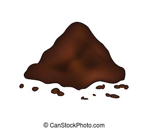 Pile of ground, heap of soil - vector illustration isolated...