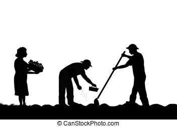 Drawing of farm workers - illustration,silhouette of farm workers ...