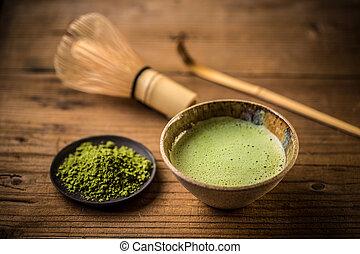 Matcha tea in a tea bowl